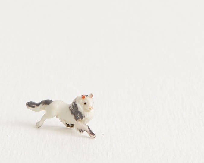 Tiny White and Gray Sheepdog Figurine at Lobster Bisque Vintage