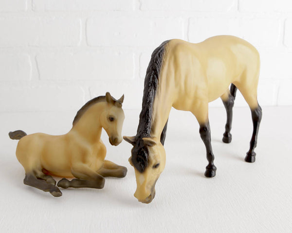 Breyer 1995 JC Penney Holiday Catalog Buckskin Grazing Mare and Foal Serenity Set #710195 at Lobster Bisque Vintage
