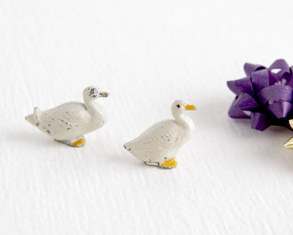Pair of White Lead Ducks at Lobster Bisque Vintage