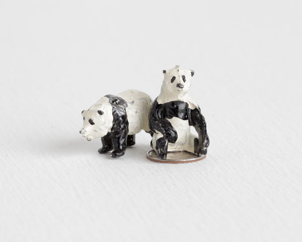 Pair of Britains Ltd Lead Panda Bears at Lobster Bisque Vintage