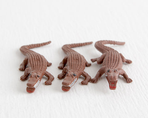 Trio of Brown Crocodiles with Open Mouths at Lobster Bisque Vintage