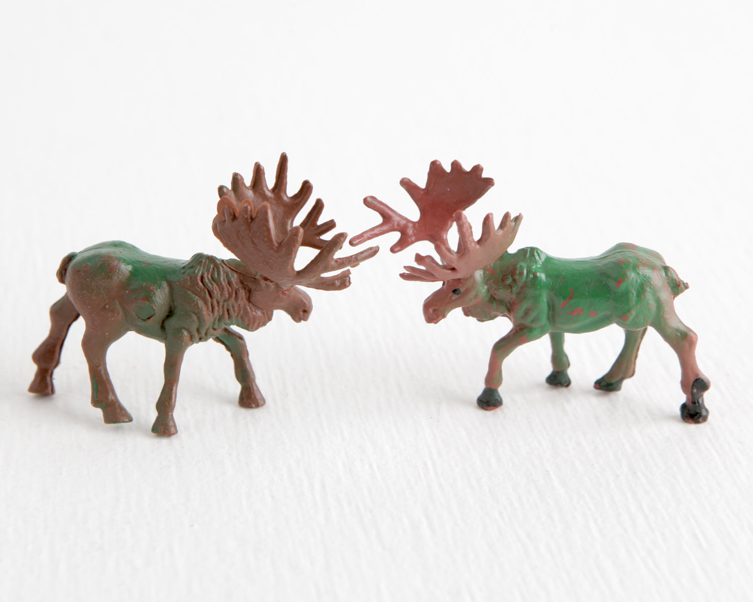 Pair of Green and Brown Bull Moose at Lobster Bisque Vintage