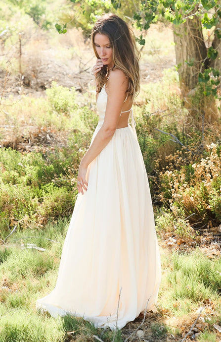 Light Yellow Sequin Maxi Gown