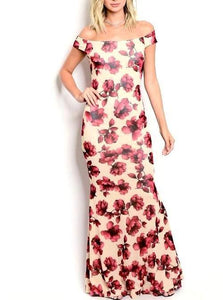Off Shoulder Rose Maxi Gown