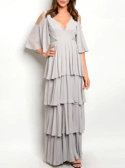 Cold Shoulder Layered Maxi Gown