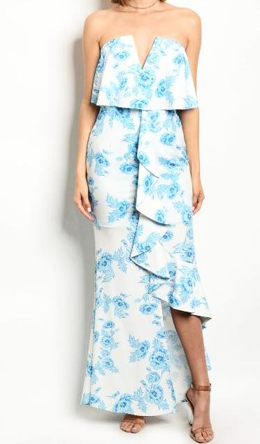 Off Shoulder Floral Maxi Gown