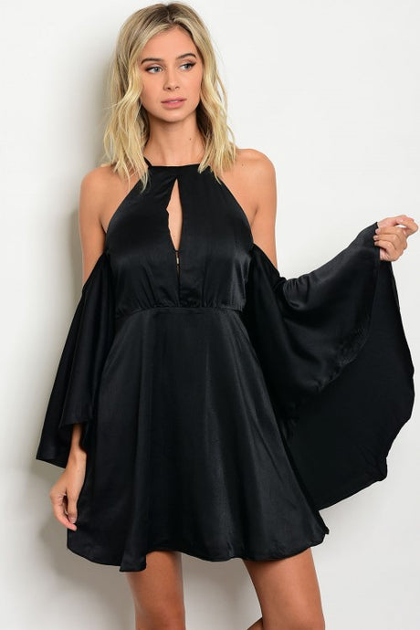 Satin Open Shoulder Dress