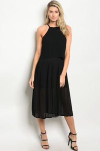 Pleated Black Midi Dress