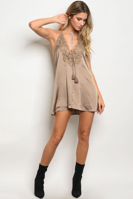 Lace Taupe Nightie Dress