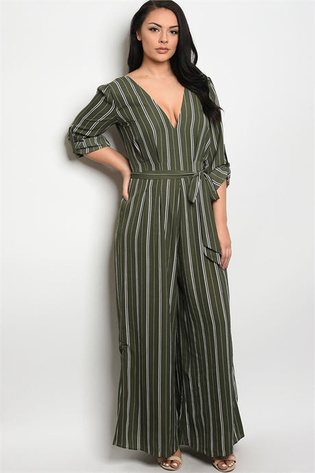 Buxom Striped Jumpsuit