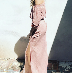 Blush Off Shoulder Maxi Dress