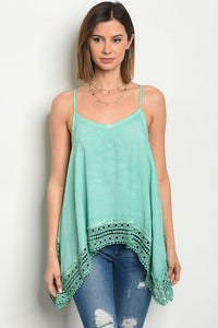 Mint Crochet Tunic Tank Top