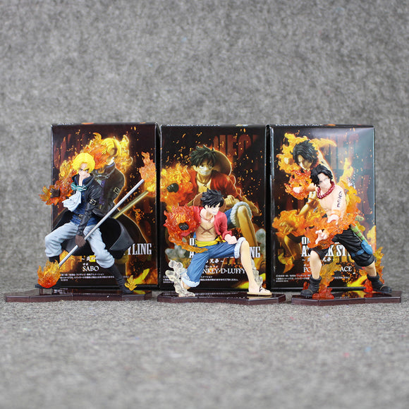 Conjunto de Action figure Luffy + Sabo + Ace - One Piece