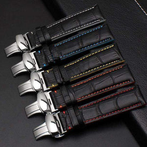 Leather Handmade Butterfly Clasp Watch Band - thema cave