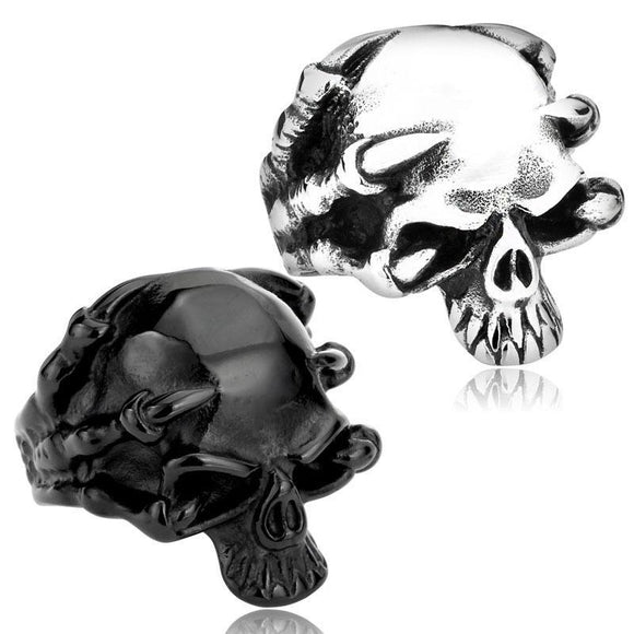 Gothic Punk Claw Thingking Skull Ring - thema cave