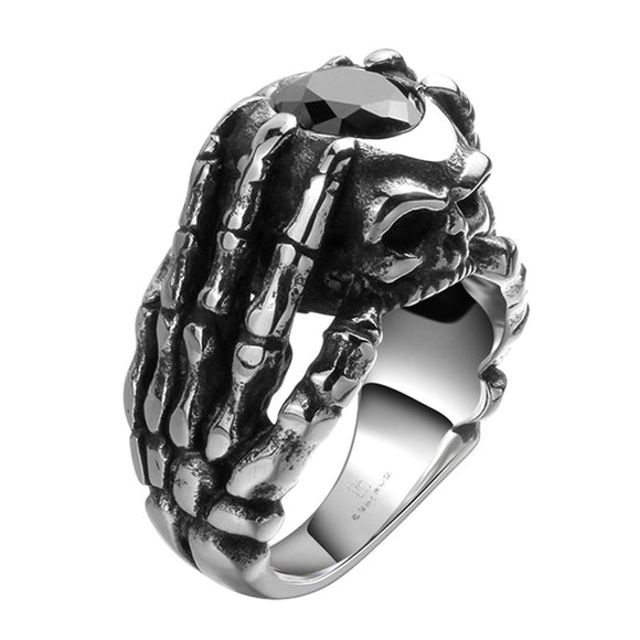 Black Onyx Skull Ring - thema cave