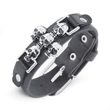 Skull Punk Leather Bracelet - thema cave