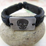Vintage Skull Leather Bracelet - thema cave