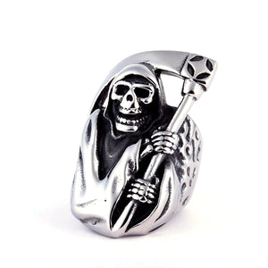 Motorcycle Grim Reaper Skull Ring - thema cave
