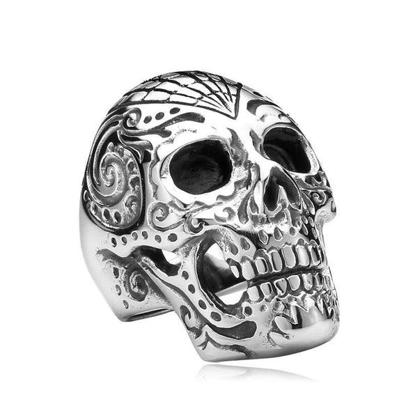 Mexican Flower Skull Ring - thema cave