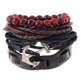 Set of 4 Leather Bracelets - thema cave