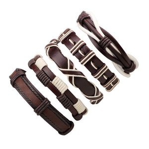 Set of 5 Punk Leather Bracelets - thema cave
