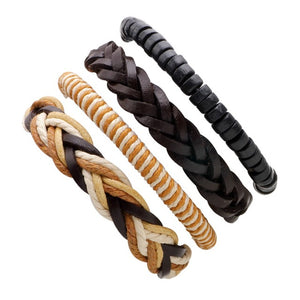Set of 4 Punk Leather Bracelets - thema cave
