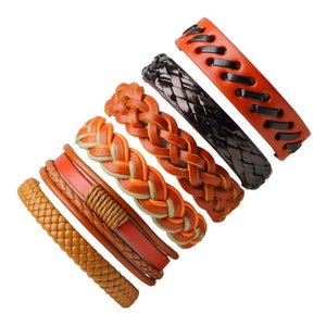 Set of 6 Vintage Leather Bracelets - thema cave