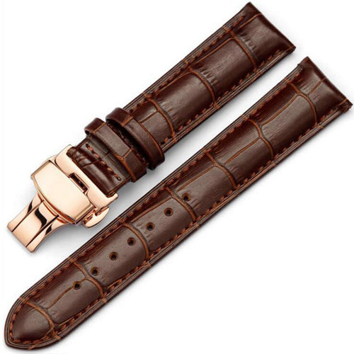 Leather Butterfly Clasp Watch Band - thema cave