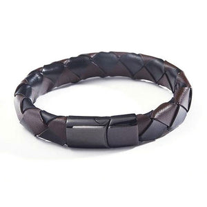 Large Braided Leather Bracelet - thema cave