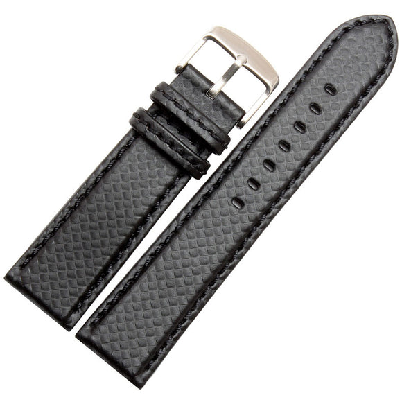 Carbon Fiber Black Leather Watch Band