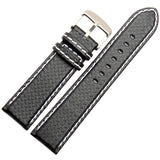 Carbon Fiber Black Leather Watch Band - thema cave