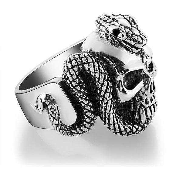 Vintage Snake Skull Ring - thema cave