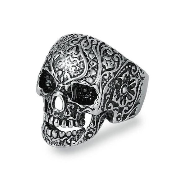 Punk Style Flower Skull Ring - thema cave