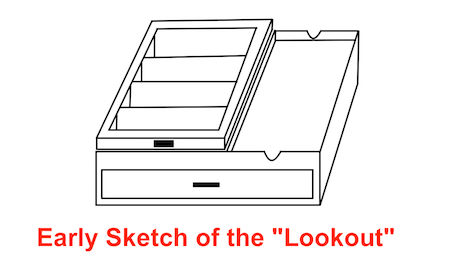 Early Sketch of the Lookout Sunglasses Organizer