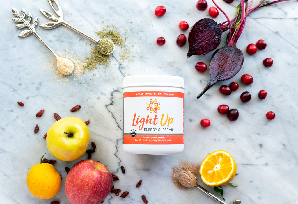 Light Up organic energy drink ingredients superfoods herbs fruit beets