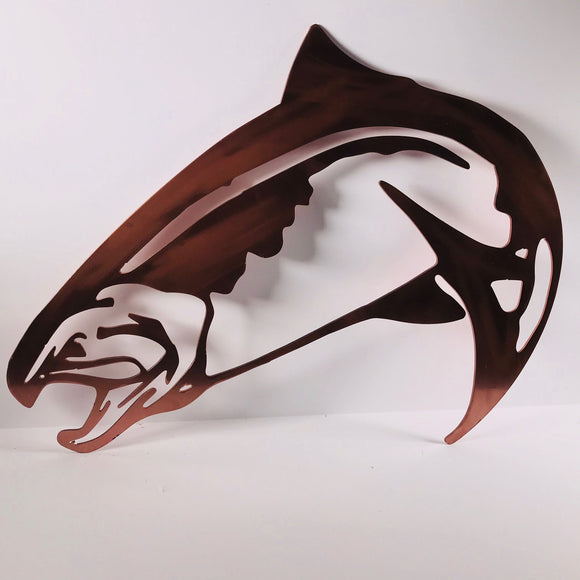 copper salmon metal art