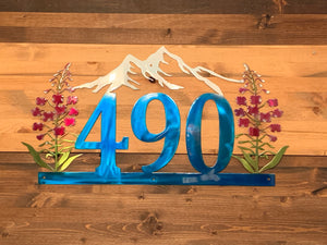 Custom Address or Name with Fireweed and Mountains