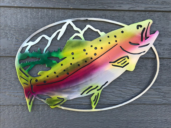Rainbow Trout with Mountains Oval Art Piece