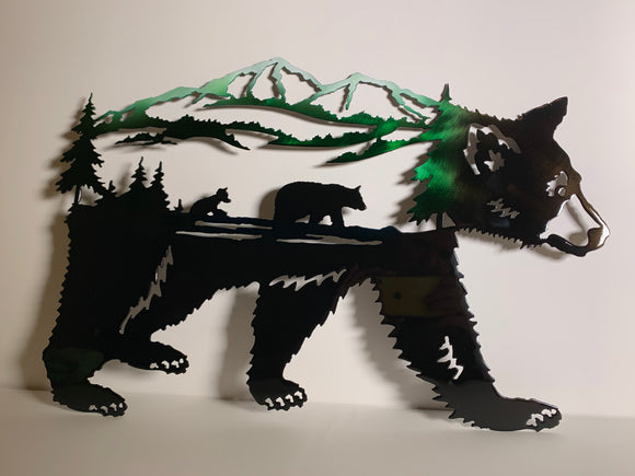 Alaska Walking Bear Scene - Metal Wall Art