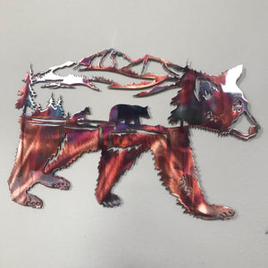 Brown Bear Metal Art Tree Scene