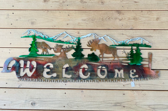 "Alaska Moose Metal Art ""Welcome Sign"""