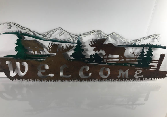 moose metal art sign