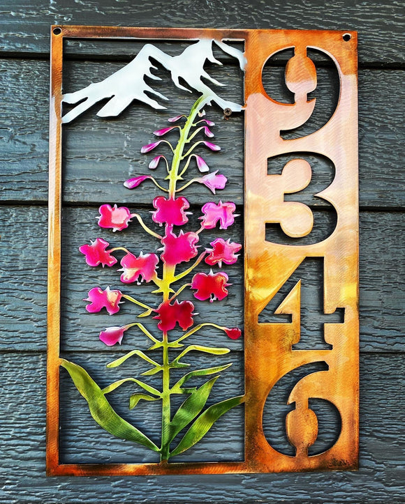 Vertical Fireweed Address Sign