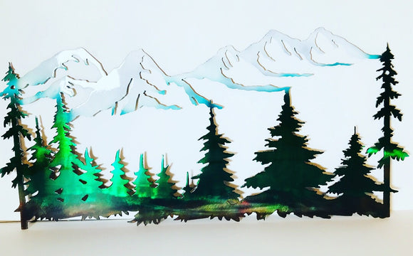 Trees and Mountains Metal Art