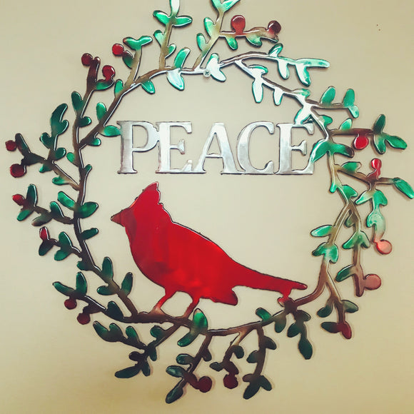Holiday Cardinal Peace Wreath