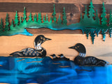 Loon Family on a Lake Metal Art Scene