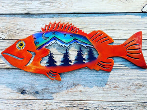 Yelloweye rockfish with northern lights scene