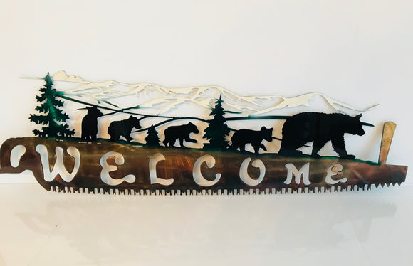 alaska bear metal saw sign
