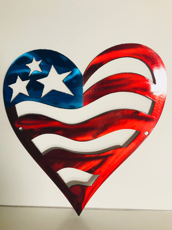 Patriotic Heart Metal Art